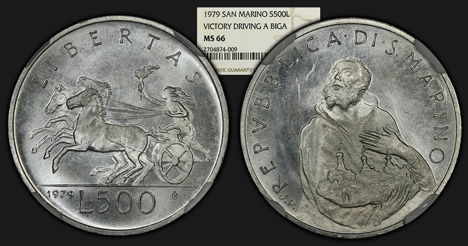 1979_SanMarino_S500Lire_Biga_NGCMS66_com